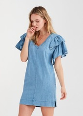 7 For All Mankind Square Ruffle Sleeve Dress in Parker Blue
