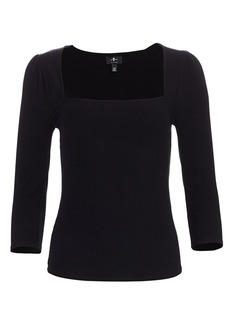 7 For All Mankind Squareneck Stretch Knit Top