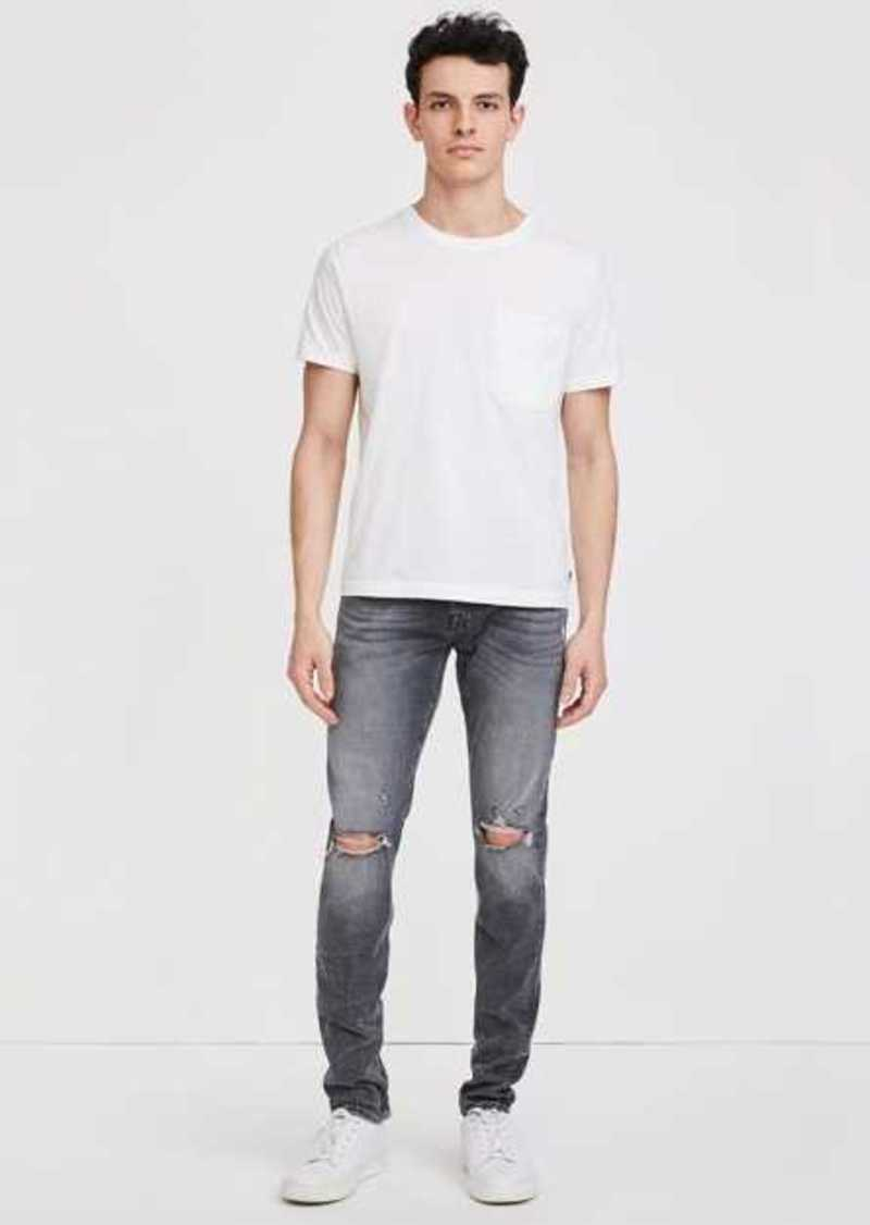 7 For All Mankind Stacked Skinny With Destroy In Washed Black
