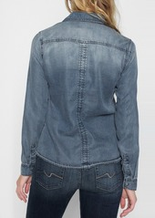 7 For All Mankind Step Hem Denim Shirt with Released Hem in Mineral Blue