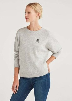 7 For All Mankind Step Hem Pullover with Teddy Embellishment in Heather Grey