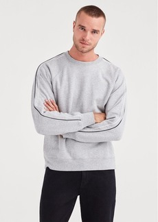 7 For All Mankind Stripe Sleeve Sweatshirt in Heather Grey