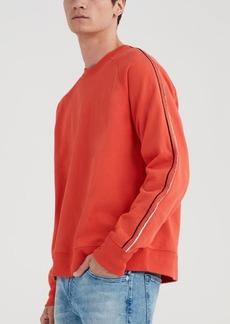 7 For All Mankind Stripe Sleeve Sweatshirt in Oroya Red