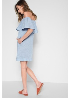 7 For All Mankind Striped Off the Shoulder Dress in Blight Blue and White Stripe