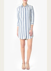 7 For All Mankind Striped Shirt Dress in Light Blue/White