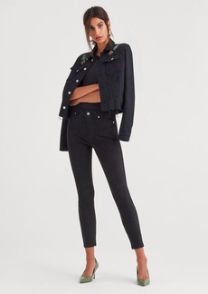 7 For All Mankind Suede Ankle Skinny in Jet Black