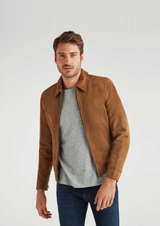7 For All Mankind Suede Blouson Jacket in Pale Gold