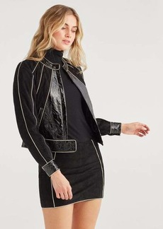 7 For All Mankind Suede Jacket with Gold Piping in Jet Black