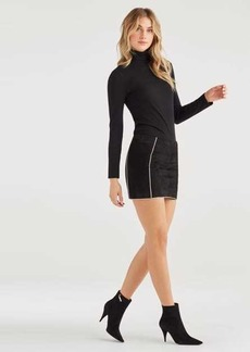 7 For All Mankind Suede Mini Skirt with Gold Piping in Jet Black