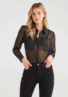 7 For All Mankind Swiss Dot Patch Pocket Top in Jet Black