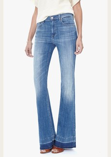 7 For All Mankind Tailorless Ginger Flare Leg Trouser With Released Hem in Bright Light Broken Twill (Short Inseam)
