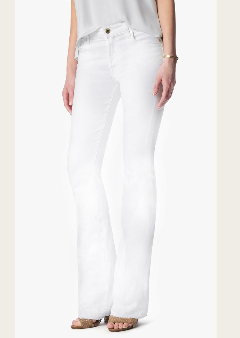 7 For All Mankind Tailorless Iconic Bootcut With Released Hem in White (Short Inseam)