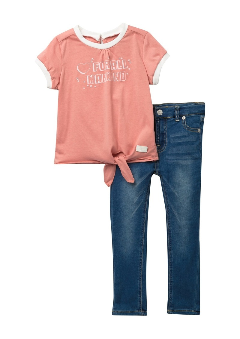 7 For All Mankind Tee & Pants Set (Toddler Girls)