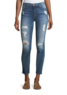 7 For All Mankind The Ankle Distressed Skinny Jeans