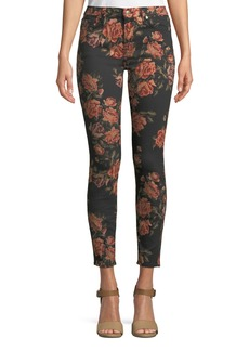 7 For All Mankind The Ankle Floral-Print Skinny Jeans