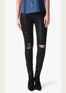 7 For All Mankind The Ankle Skinny Coated Destroy in Black