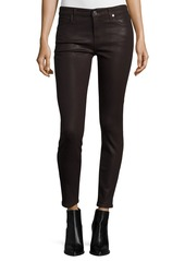 7 For All Mankind The Ankle Skinny Coated Jeans  Plum