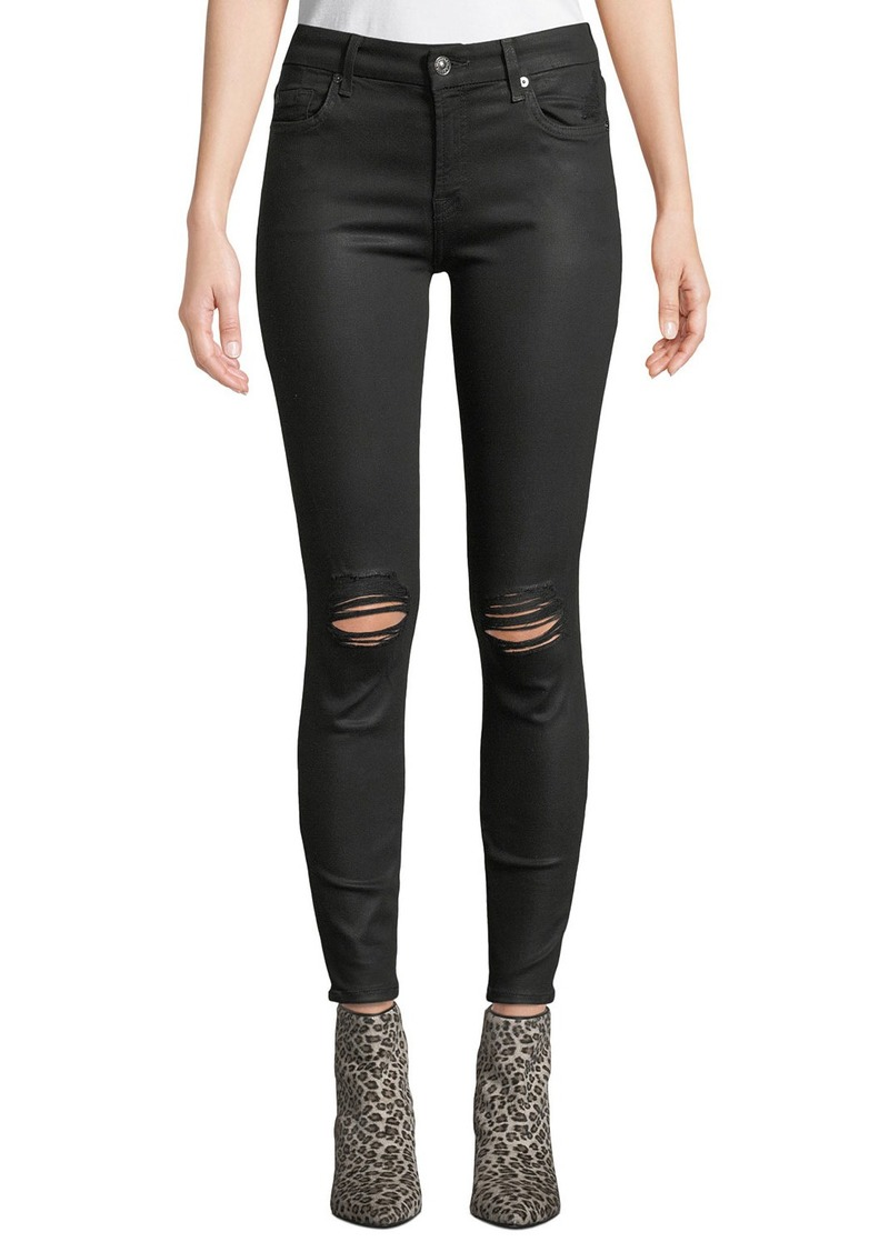 7 For All Mankind The Ankle Skinny Coated Jeans