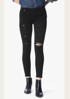 The Ankle Skinny in Black Sequin Patched Denim