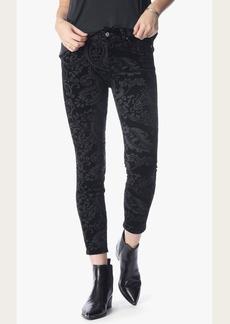 The Ankle Skinny in Black Velveteen Paisley