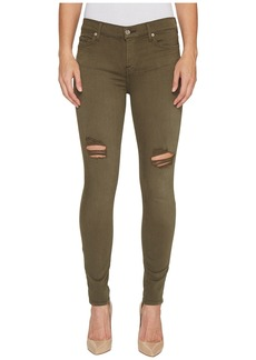 7 For All Mankind The Ankle Skinny Jeans w/ Destroy in Olive