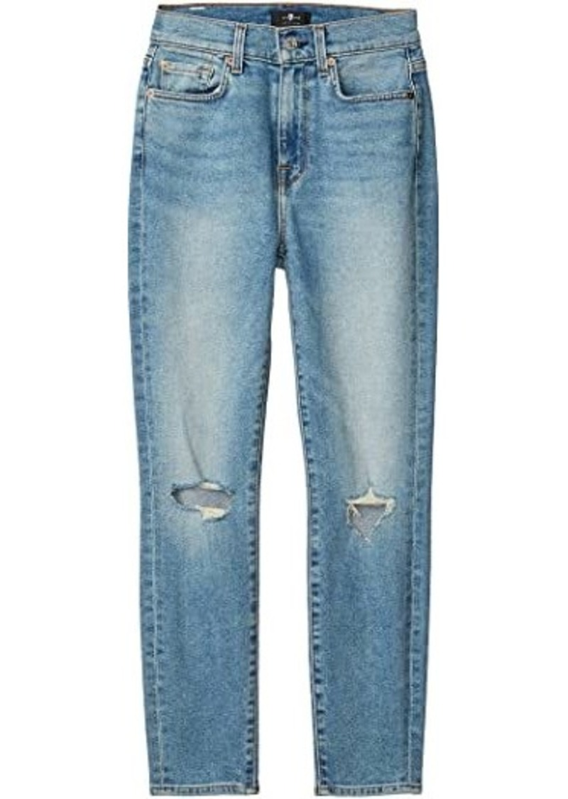 7 For All Mankind The High-Waist Ankle Skinny in Rose Avenue Destroyed
