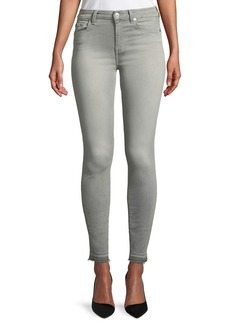 7 For All Mankind The High-Waist Ankle Skinny Jeans with Released Hem  B(Air) Powdered Gray