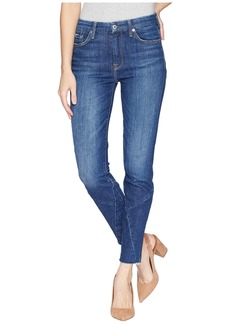 7 For All Mankind The High-Waist Ankle Skinny w/ Architecture Cut Off Hem in Saguaro