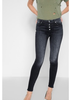 High Waist Skinny with Exposed Button Fly in Authentic Black
