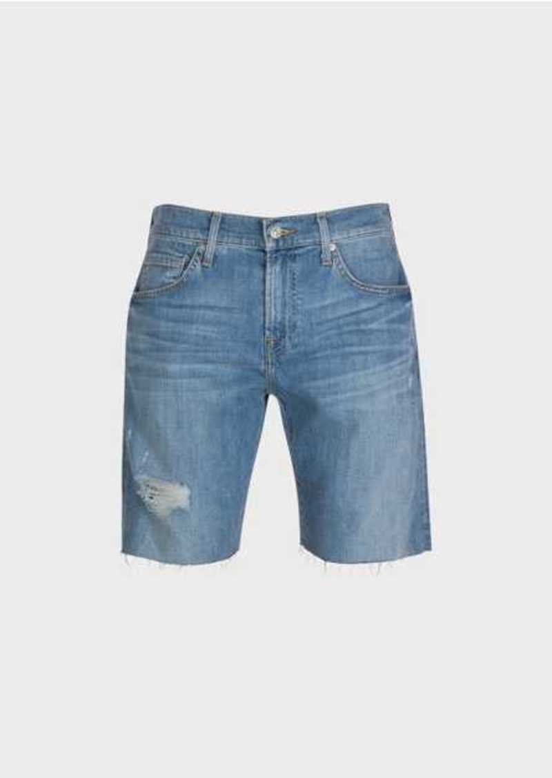 7 For All Mankind The Straight Short In Light Indigo With Destroy
