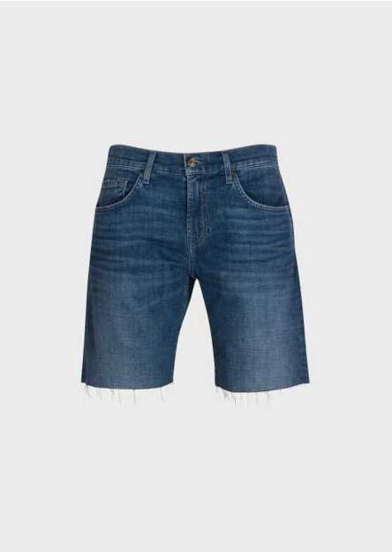 7 For All Mankind The Straight Short In Mid Blue