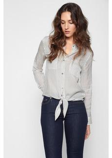 Tie Front Denim Shirt in White and Denim Mini Stripe