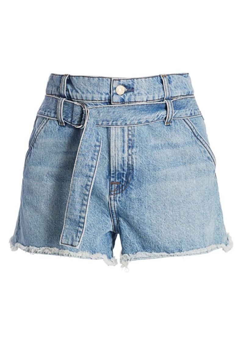 7 For All Mankind Tie-Waist Paperbag Denim Shorts