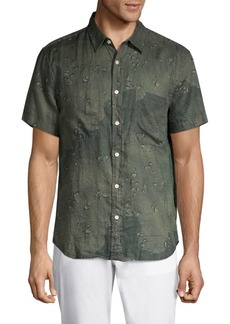 7 For All Mankind Tonal Camo Linen Shirt