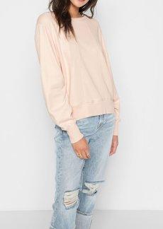 7 For All Mankind Tucked Sleeve Sweatshirt in Pink Sunrise