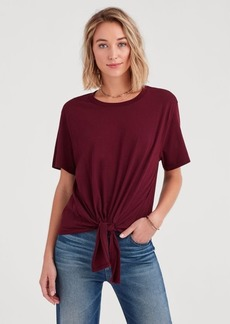 7 For All Mankind Tunnel Front Tee in Dark Bordeaux