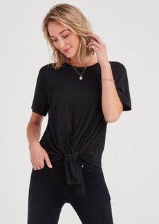 7 For All Mankind Tunnel Front Tee in Jet Black