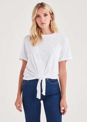 7 For All Mankind Tunnel Front Tee in Optic White