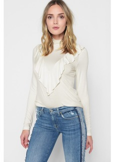 7 For All Mankind Turtleneck Ruffle Top in Natural