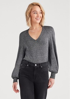 7 For All Mankind Twist Back Sweater in Black Silver Lurex