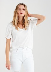 7 For All Mankind Twist Sleeve Tee in Optic White