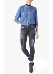 7 For All Mankind Two Pocket Slim Boyfriend Button Front Shirt in Castle Lake Blue