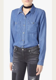 Two Pocket Slim Boyfriend Button Front Shirt in Castle Lake Blue