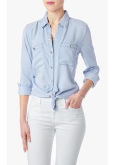 Two Pocket Slim Boyfriend Button Front Shirt in Crystal Blue