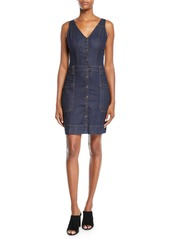 7 For All Mankind Utility Button-Front Sleeveless Denim Short Dress