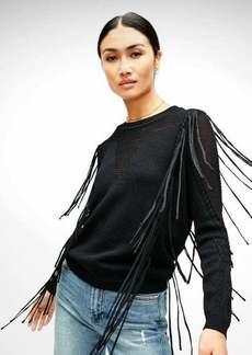7 For All Mankind V-Front Fringe Sweater in Jet Black