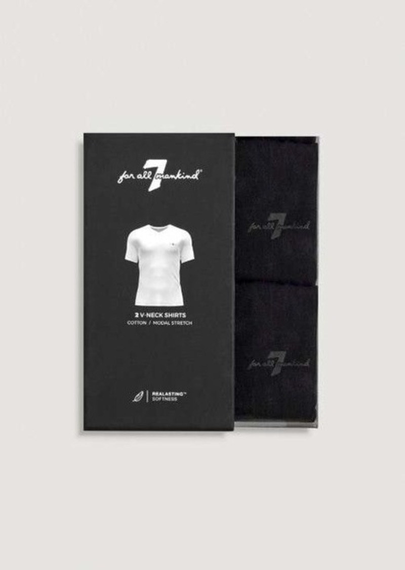 7 For All Mankind V Neck Tee 2 Pack in Black
