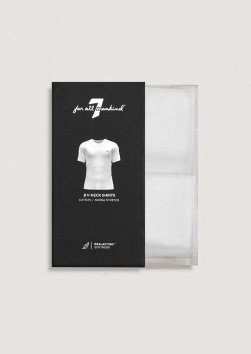 7 For All Mankind V Neck Tee 2 Pack in White