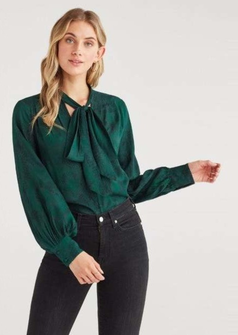 7 For All Mankind V Neck Tie Blouse in Dark Green Python