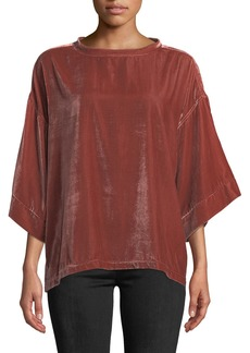 7 For All Mankind Velvet Drop-Shoulder Top